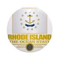 Rhode Island Flag Round Ornament