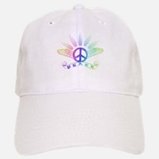 Peace Sign with Wings Rainbow Baseball Baseball Cap
