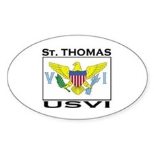 St. Thomas, USVI Flag Oval Stickers