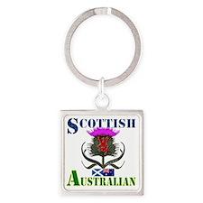 Scottish Australian Thistle Design Square Keychain