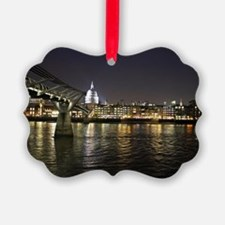 London St. Pauls by Thames Night Ornament