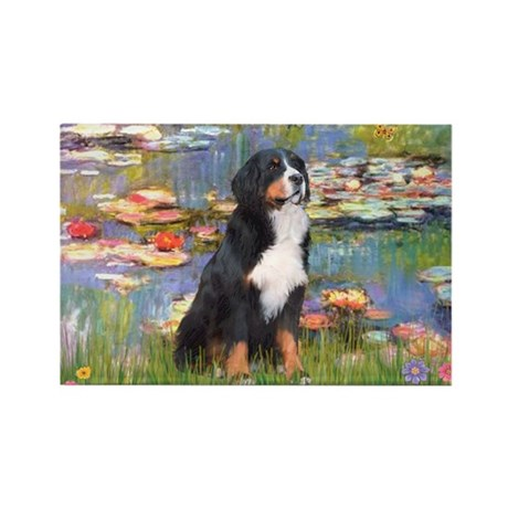 Lilies & Bernese Rectangle Magnet (10 pack)