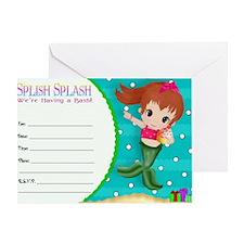 Brunette Mermaid Invitation Greeting Card