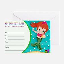 RedHead Mermaid Invite Greeting Card