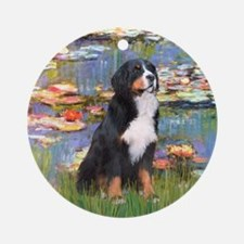 Lilies & Bernese Ornament (Round)