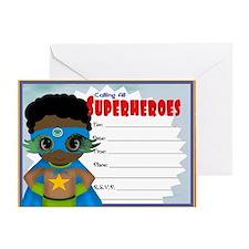 African American Boy Superhero Invit Greeting Card