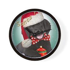 Newfoundland puppy santa paws Wall Clock