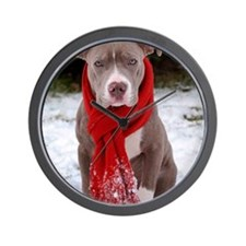 Holiday Pit Bull with Red Scarf Wall Clock