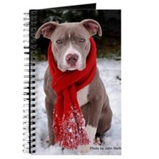 Holiday Pit Bull with Red Scarf Journal