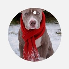 Holiday Pit Bull with Red Scarf Round Ornament