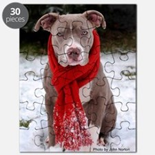 Holiday Pit Bull with Red Scarf Puzzle