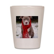 Holiday Pit Bull with Red Scarf Shot Glass