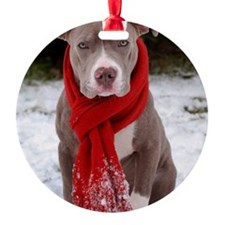 Holiday Pit Bull with Red Scarf Ornament