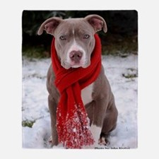 Holiday Pit Bull with Red Scarf Throw Blanket