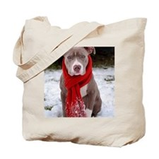 Holiday Pit Bull with Red Scarf Tote Bag