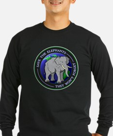 Save The Elephants Dark T-Shirts Long Sleeve T-Shi