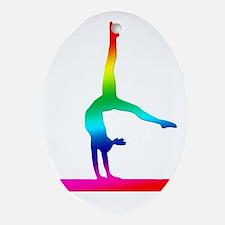 Flip Flop Rainbow Gymnast Oval Ornament