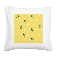 Bees-buzzing-(Sc) Square Canvas Pillow