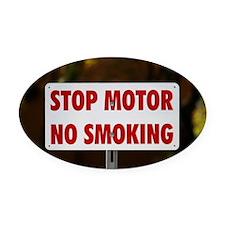 Stop Motor No Smoking Oval Car Magnet