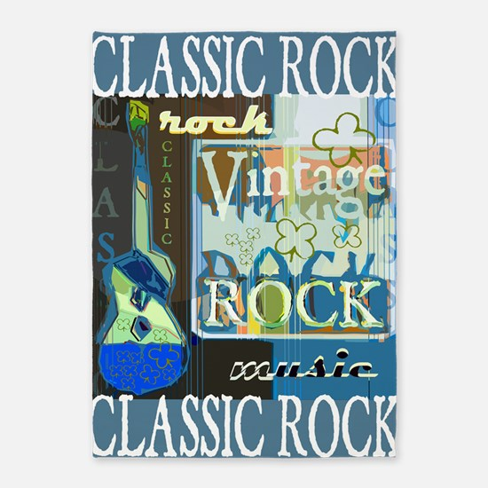 Classic Rock N Roll 5'x7'Area Rug