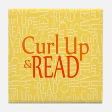 Curl Up and Read Yellow Tile Coaster