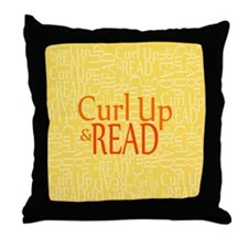 Curl Up and Read Yellow Throw Pillow