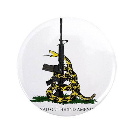 """Gadsden Flag - 2nd Amendment 3.5"""" Button"""