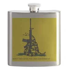 Gadsden Flag - Dont Tread on the 2nd Amendme Flask