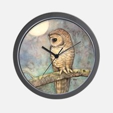 Brown Spotted Owl Watercolor Art Wall Clock