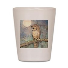 Brown Spotted Owl Watercolor Art Shot Glass