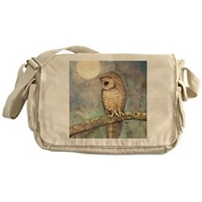 Brown Spotted Owl Watercolor Art Messenger Bag
