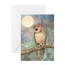 Brown Spotted Owl Watercolor Art Greeting Card