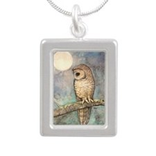 Brown Spotted Owl Waterc Silver Portrait Necklace