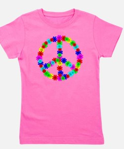1960's Era Hippie Flower Peace Sign Girl's Tee