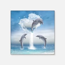 "The Heart Of The Dolphins Square Sticker 3"" x 3"""