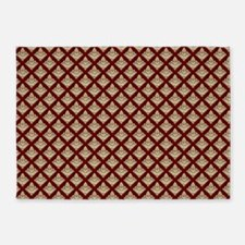 Elegant Medieval Red and Gold 5'x7'Area Rug