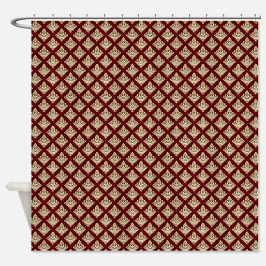 Elegant Medieval Red and Gold Shower Curtain