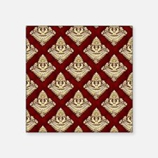 "Elegant Medieval Red and Go Square Sticker 3"" x 3"""