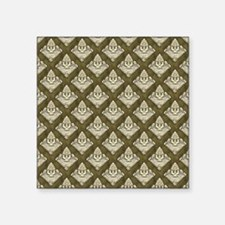 "Elegant Medieval Olive Gree Square Sticker 3"" x 3"""