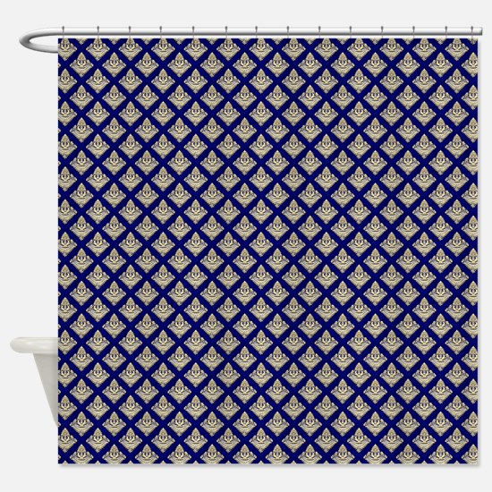 Elegant Medieval Blue and Gold Shower Curtain