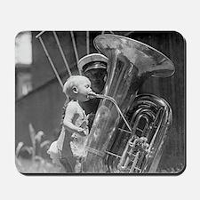 Baby Playing Tuba Mousepad