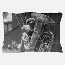 Baby Playing Tuba Pillow Case