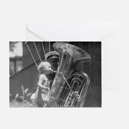 Baby Playing Tuba Greeting Card