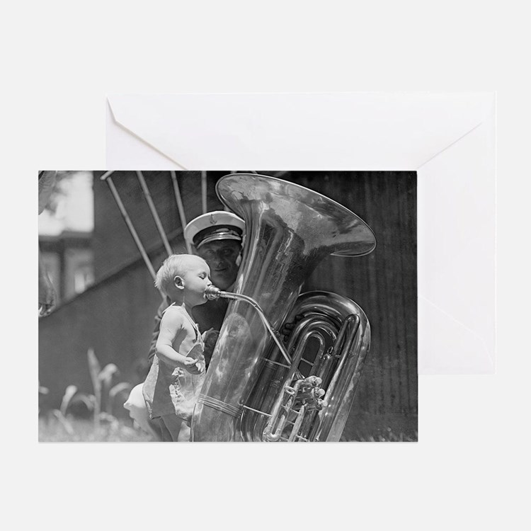 Baby Playing Tuba Greeting Card