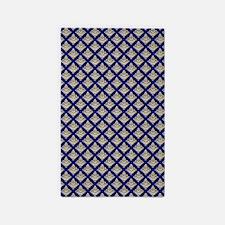Elegant Medieval Blue and Gold 3'x5' Area Rug