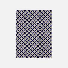 Elegant Medieval Blue and Gold 5'x7'Area Rug