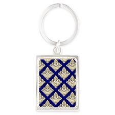 Elegant Medieval Blue and Gold Portrait Keychain