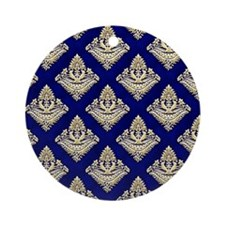 Elegant Medieval Blue and Gold Round Ornament