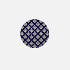 Elegant Medieval Blue and Gold Mini Button