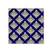 "Elegant Medieval Blue and G Square Sticker 3"" x 3"""